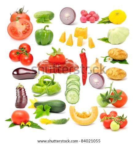 Vegetable Set (Tomato, Cucumber, Onion, Radish, Scalloped Squash, Sweet and Chili Peppers, Pumpkin, Potato, Aubergine, Zucchini) Isolated on White Background