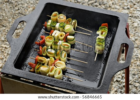 Vegetable skewers with cheese on barbecue - stock photo