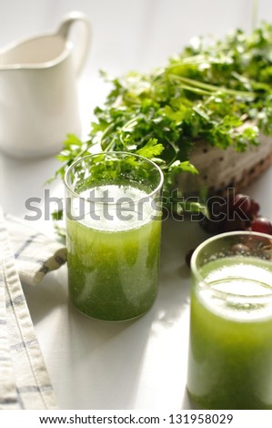 Vegetable Smoothie with coriander in background