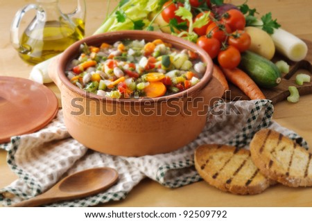 Vegetable soup and toast bread- setting