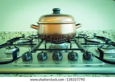 vegetable soup in pot - stock photo