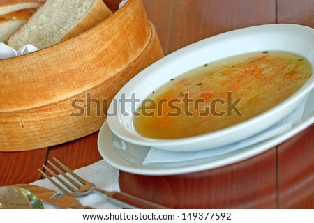 Vegetable soup on a table