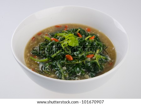 Vegetable soup on isolated white
