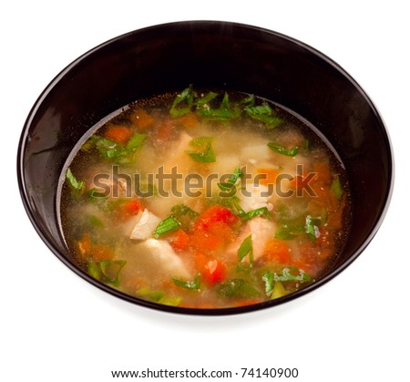 Vegetable soup with chicken isolated