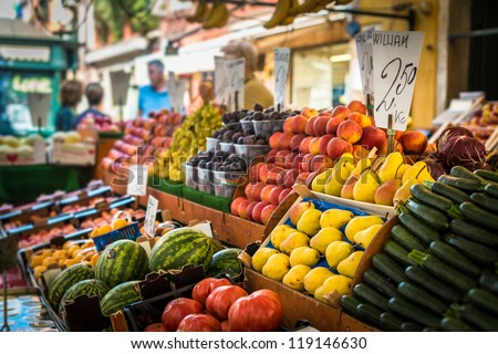 Vegetable stand at traditional market in Venice, Italy