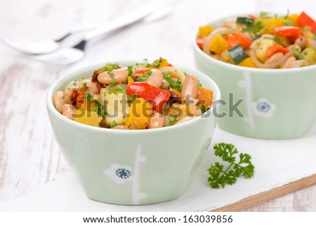 vegetable stew with white beans, close-up - stock photo