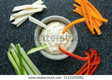 Vegetable sticks and dips in bowl. Healthy vegetables and dip snack. #1123205882