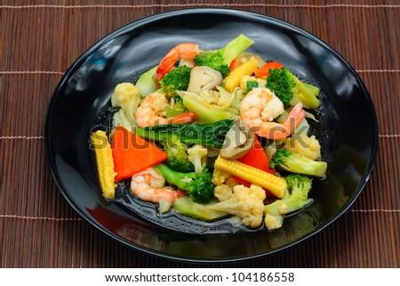 Vegetable stir-fry dishes.