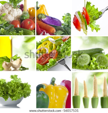 Vegetable theme collage composed of few images