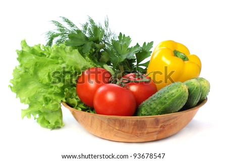 Vegetable - tomato, cucumber, pepper isolated on white background