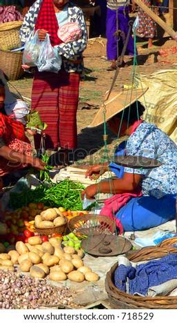 Vegetable Trader, Inle Lake Market. Myanmar (Burma)