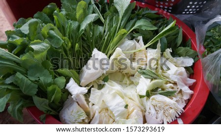 Vegetable Vegetable tray For the merit-ordination ceremony For eating as a side dish