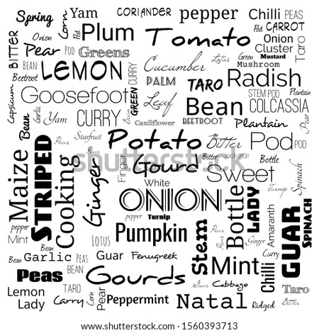 vegetable word cloud. word cloud use for banner, painting, motivation, web-page, website background, t-shirt & shirt printing, poster, gritting, wallpaper (illustration)