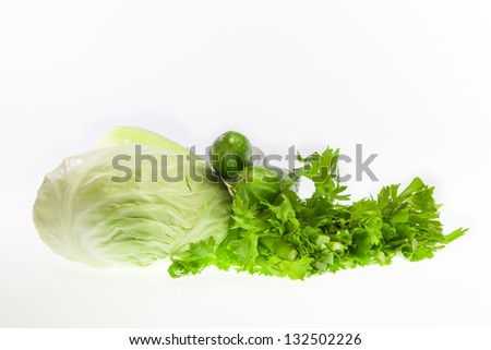 Vegetables against white background