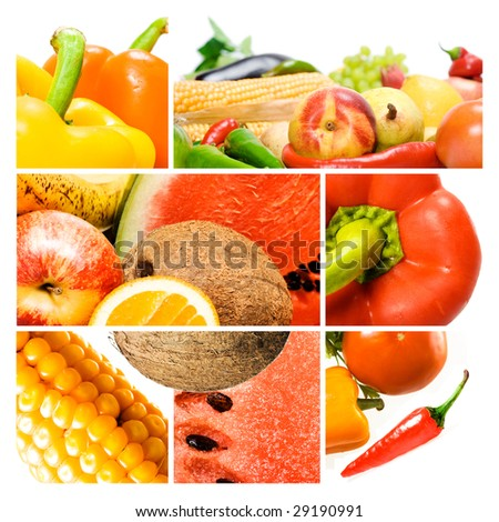 Vegetables & Fruits Collage.