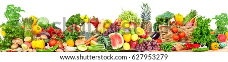 Vegetables and fruits background - Shutterstock ID 627953279