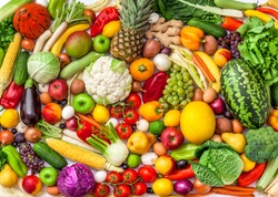 Vegetables and fruits fresh large overhead mix group colorful background assorted in studio