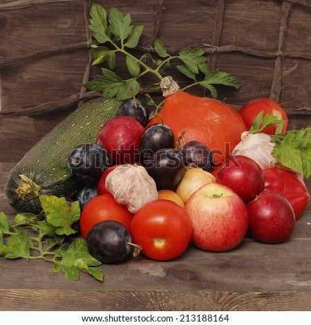 Vegetables and fruits in autumn season still life