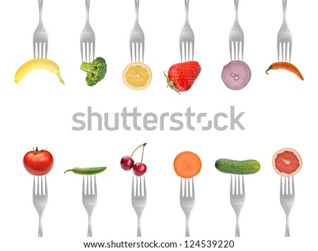 vegetables and fruits on the collection of forks, diet concept #124539220