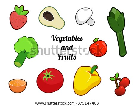 Vegetables and Fruits: strawberry, avocado, mushroom, asparagus, broccoli, tomato, apple, orange, pepper and cherry #375147403
