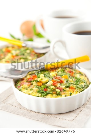 Vegetables and Meat Quiche with Spinach Served for Breakfast with Coffee