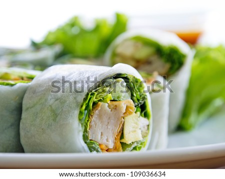 vegetables and soy bean cake in noodle tube, southeast asian style food