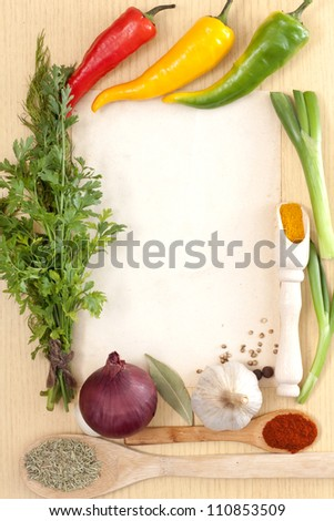 Vegetables and spices border and blank paper for recipes - stock photo