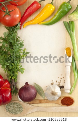 Vegetables and spices border and blank paper for recipes