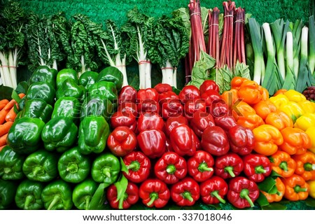 Vegetables at a market- different peppers #337018046