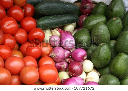 Vegetables at the outdoor fruit and vegetable market in Otavalo, Ecuador