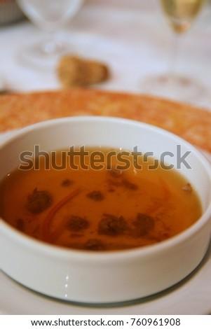 Vegetables consomme soup #760961908