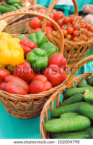 Vegetables. Cucumber tomatoes and other .