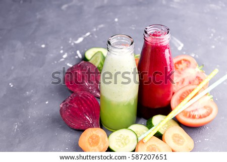 Vegetables detox smoothie Beetroot Carrot Cucumber and Tomato fresh juice Copy space Diet food