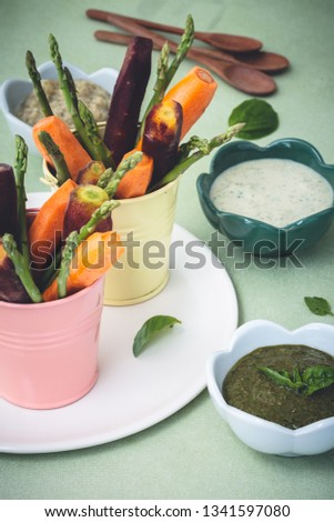 Vegetables Dips with Dips Sauce  #1341597080