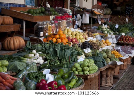 Vegetables Displayed on a Market Stall