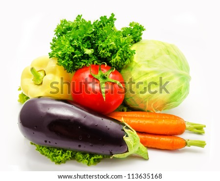 Vegetables eggplant tomato cabbage lettuce carrots  paprika parsley  isolated