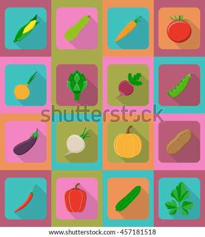vegetables flat icons with the shadow illustration isolated on background