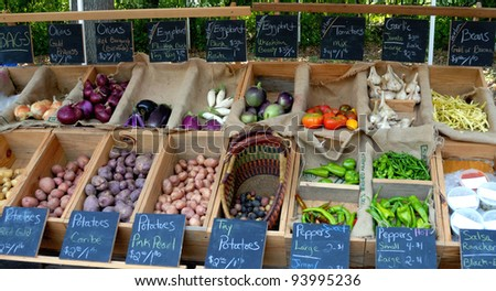 Vegetables for sale at a farmers market in georgia usa