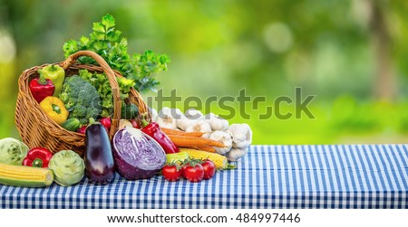Vegetables. Fresh mix vegetable on table in the background garden. Assortment of fresh vegetables close up. #484997446