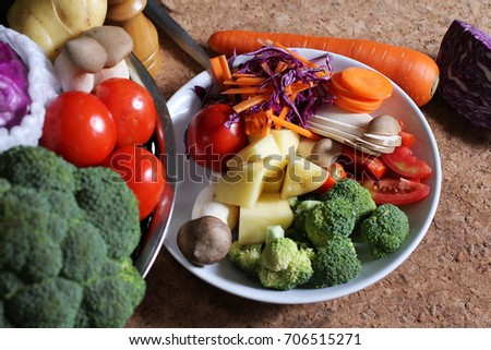 Vegetables. Fresh vegetables. Colorful vegetables /tomato,broccoli,carrot,potato #706515271
