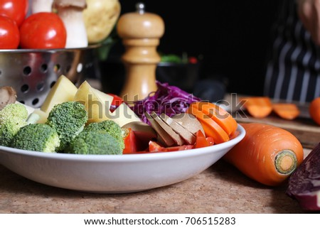 Vegetables. Fresh vegetables. Colorful vegetables /tomato,broccoli,carrot,potato #706515283