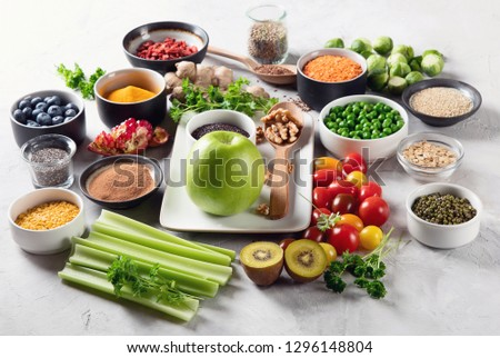 Vegetables, fruit, grain, superfoods for vegan and vegetarian eating. Clean eating. Detox, dieting food concept #1296148804