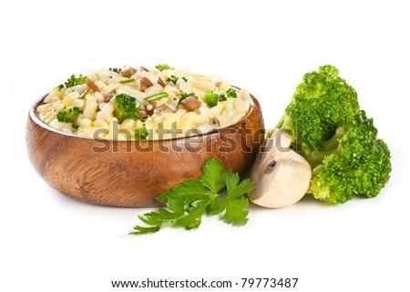vegetables garnish with rice, mushrooms broccoli, cheese