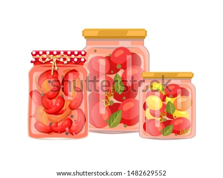 Vegetables granny preparation or conservation poster. raster pickled peppers with peppercorn, canned tomatoes with bay leaf in big and small bottle.