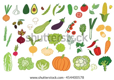 vegetables graphic color set