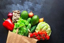 vegetables healthy eating, raw organic foods Menu concept. food background. top view copy space for text keto or paleo diet