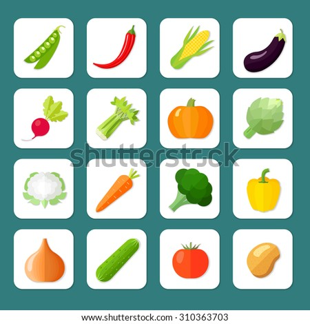 Vegetables icon flat set with peas chili pepper corn eggplant isolated  illustration