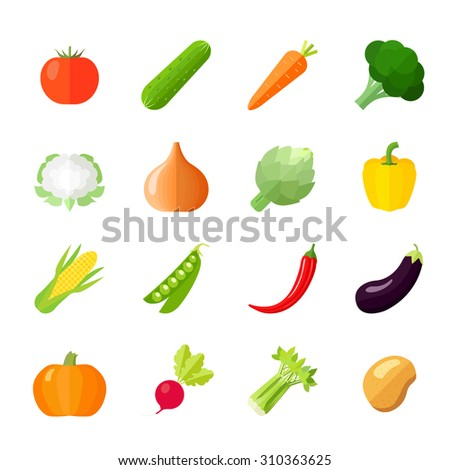 Vegetables icons flat set with cauliflower broccoli celery cabbage cucumber isolated  illustration