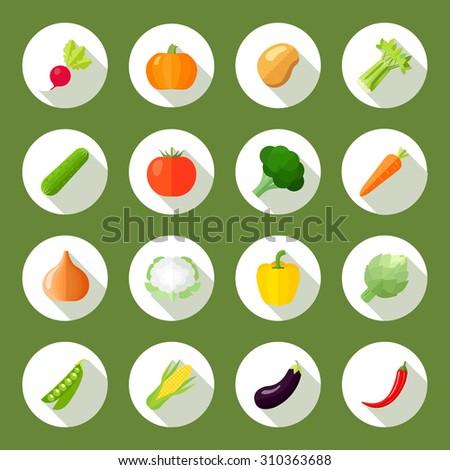 Vegetables icons flat set with radish pumpkin potato celery isolated  illustration