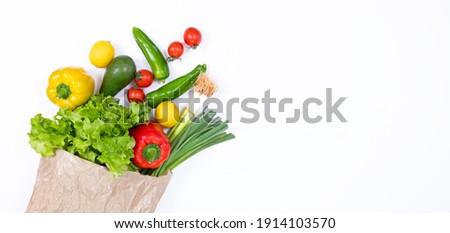 vegetables in grocery paper bag